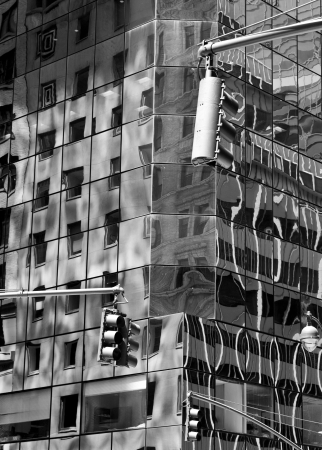 New York city streets, reflections on buildings