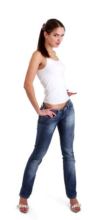 isolated nice woman on jeans and white tanktop