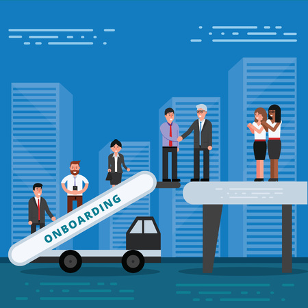 Vektor für Employees onboarding concept. HR managers hiring new workers for job. Recruiting staff or personnel in their business company. Organizational socialization vector illustration - Lizenzfreies Bild