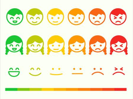 Illustration pour Feedback rate emoticon icon set. Emotion smile ranking bar. Vector smiley face customer or user review, survey, vote rating. Emoji opinion symbols - image libre de droit