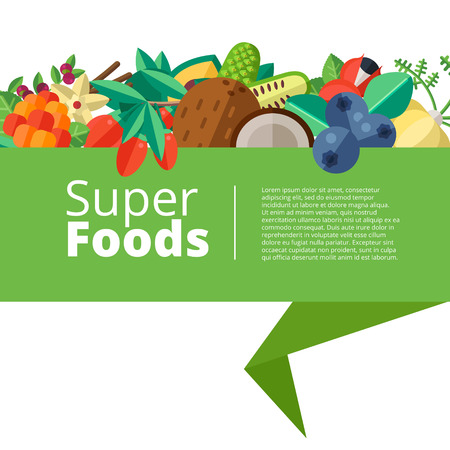 Foto für Superfood background with fruits, vegetables, berries, nuts and seeds. Vector layout with healthy detox natural products. Flat design organic food banner. - Lizenzfreies Bild