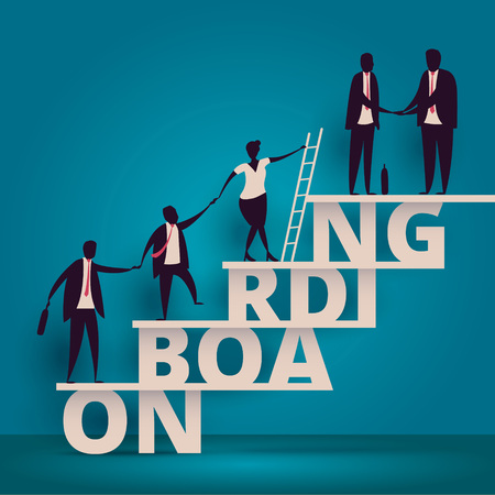 Business onboarding concept. HR manager hiring employee or workers for job. Recruiting staff or personnel in company.