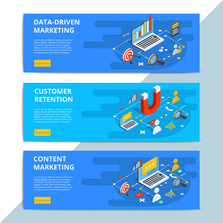 Illustration pour Content marketing isometric vector web banners. Business sale strategy and social media customer research. E-commerce or online shopping target search. - image libre de droit