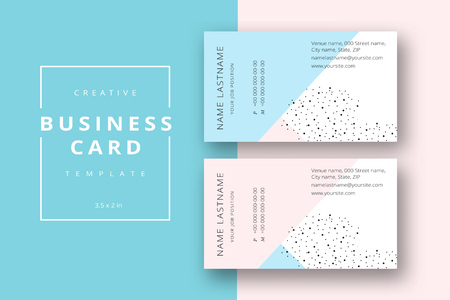 Illustration pour Trendy minimal abstract business card template in pink and blue. Modern corporate stationary id layout with geometric lines. Vector fashion background design with information sample name text. - image libre de droit