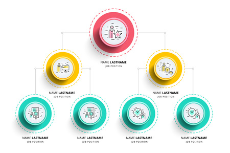 Illustration pour Business hierarchy organogram chart infographics. Corporate organizational structure graphic elements. Company organization branches template. Modern vector info graphic tree layout design. - image libre de droit