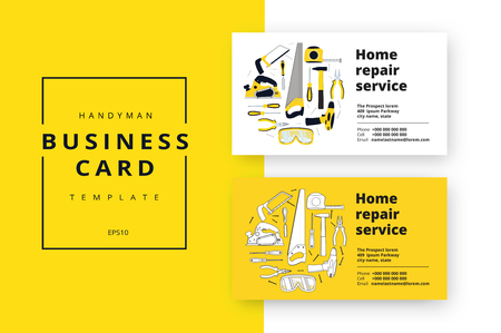 Illustration pour Home improvement corporate business card with repair tools. House construction id template. Renovation background for professional carpenter, handyman, builder. Vector illustration. - image libre de droit