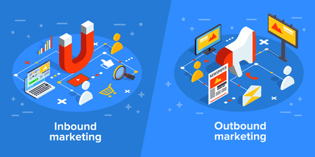 Illustration pour Inbound and outbound marketing vector business illustration in isometric design. Online and offline or interruption and permission marketing background. - image libre de droit