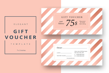 Illustration pour Abstract gift voucher card template. Modern discount coupon or certificate layout with bronze geometric stripe pattern. Vector fashion bright background design with information sample text. - image libre de droit