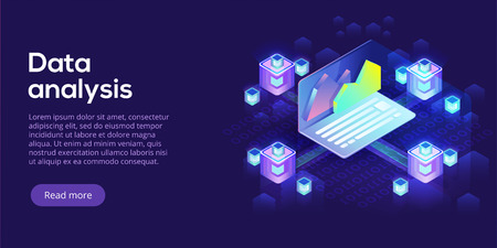 Ilustración de Hosting server isometric vector illustration. Abstract 3d datacenter or data center room background. Network mainframe infrastructure website header layout. Computer storage or farming workstation. - Imagen libre de derechos