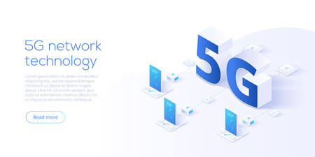 Illustration pour 5g network technology in isometric vector illustration. Wireless mobile telecommunication service concept. Marketing website landing template. Smartphone internet speed connection background. - image libre de droit
