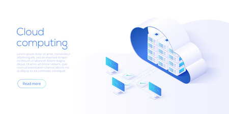 Illustration pour Cloud storage download isometric vector illustration. Digital service or app with data transfering. Online computing technology. 3d servers and datacenter connection network. - image libre de droit