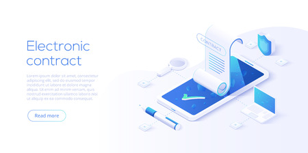 Illustration pour Electronic contract or digital signature concept in isometric vector illustration. Online e-contract document sign via smartphone or laptop. Website or webpage layout template. - image libre de droit