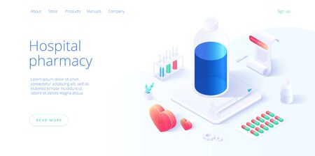 Hospital pharmacy or drug store concept in isometric vector illustration. Pharmaceutics or chemical lab background with medicines and equipment. Web banner layout template.