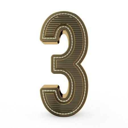 Foto de Golden symbol of the alphabet. Number 3. 3D rendering - Imagen libre de derechos