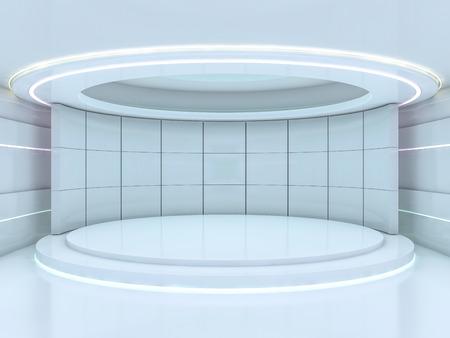 Photo pour Presentation room with empty podium. 3D rendering - image libre de droit
