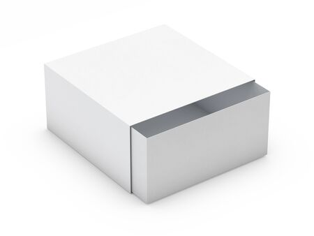Photo pour White box mock up isolated on white background. 3D rendering - image libre de droit