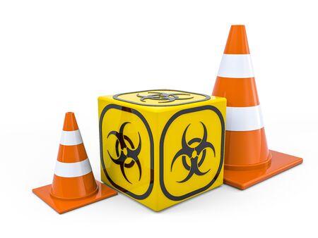 Photo pour Virus COVID-19, pandemic risk alert. Biohazard sign. Warning sign of virus. 3D rendering - image libre de droit