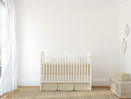 Photo pour Interior of nursery with vintage crib. 3d render. Photo behind the window was made by me. - image libre de droit