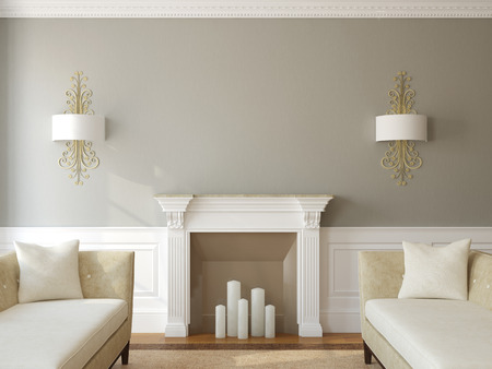 Photo for Modern living-room interior with fireplace. 3d render. - Royalty Free Image
