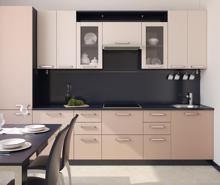 Foto de Modern kitchen interior. 3d render. - Imagen libre de derechos