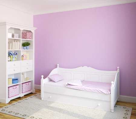 Photo pour Colorful interior of toddler room with white furniture and violet wall. 3d render. - image libre de droit
