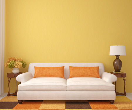 Beautiful living-room with white couch near empty yellow wall. 3d render.