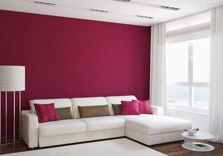 Photo pour Modern living-room interior with white couch near empty red wall. 3d render. - image libre de droit