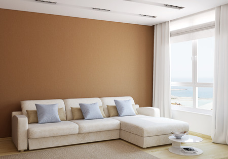 Photo pour Modern living-room interior with white couch near empty brown wall. 3d render. - image libre de droit