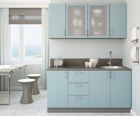 Foto de Modern small blue kitchen 3d render. - Imagen libre de derechos