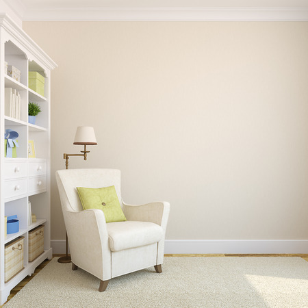 Modern interior with bookcase and armchair near beige empty wall.3d render.