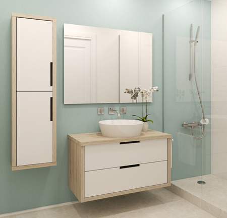 Photo for Modern bathroom interior. 3d render. - Royalty Free Image