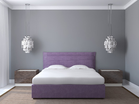 Modern bedroom interior with gray walls and violet king-size bed. 3d render.