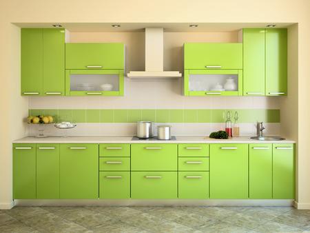 Modern green kitchen interior. 3d render.