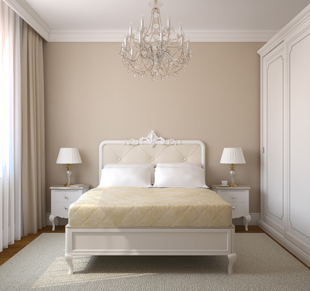 Classical bedroom interior. 3d render.