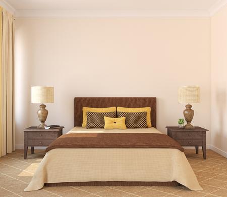 Modern bedroom interior. Frontal view. 3d render.