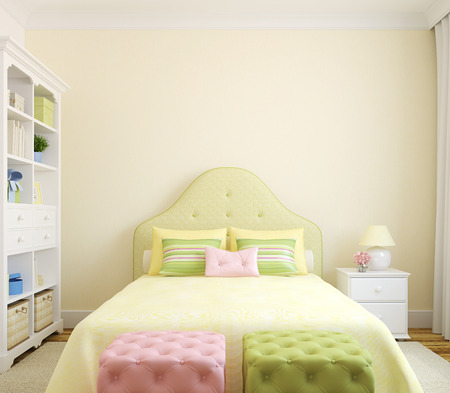Colorful bedroom  interior for girl. Frontal view. 3d render.