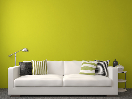 Modern living-room interior with white couch near empty green wall. 3d render.