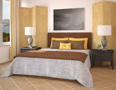 Modern bedroom interior. 3d render. Photo behind thee window was made by me.
