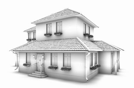 Foto de 3d model of the house. Sketch. - Imagen libre de derechos
