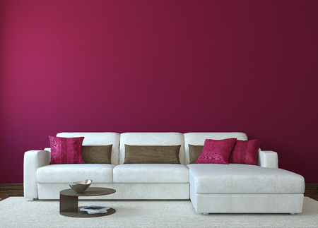 Photo pour Modern living-room interior with white couch near empty red wall. 3d render. Photo for book cover was made by me. - image libre de droit
