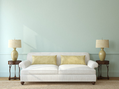 Classic living-room interior with white couch near empty blue wall. 3d render.