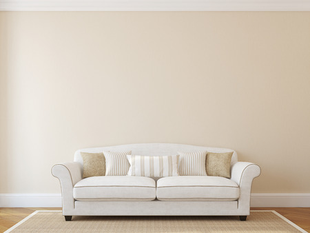 Interior with white classic couch near empty beige wall. 3d render.