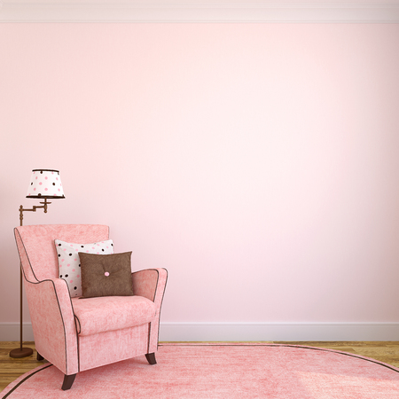 Modern interior with pink armchair.3d render.