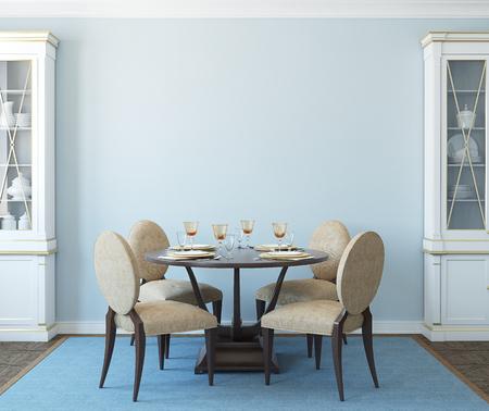 Photo pour Modern dining-room interior.3d render. - image libre de droit