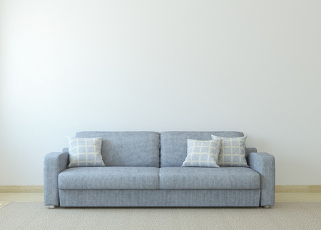 Modern living-room interior with gray couch near empty white ...