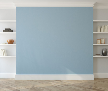 Photo pour Interior with empty blue wall and shelves. 3d render. - image libre de droit