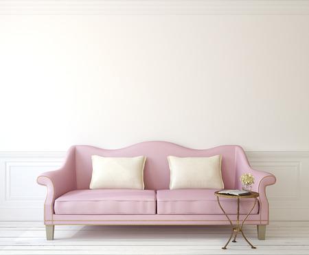 Photo pour Romantic interior with pink couch near empty white wall. 3d render. - image libre de droit