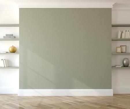 Photo pour Interior with empty green wall and shelves. 3d render. - image libre de droit
