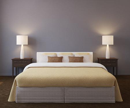 Foto de Modern bedroom interior. 3d render. - Imagen libre de derechos