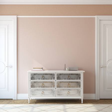 Photo for Interior of foyer with dresser near empty pink wall. 3d render. - Royalty Free Image